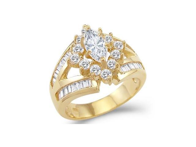 Solid 14k Yellow Gold Marquise CZ Cubic Zirconia Engagement Wedding Ring 3.5 ct