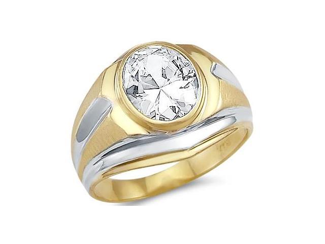 New Solid 14k Yellow and White Gold Large Mens CZ Cubic Zirconia Ring