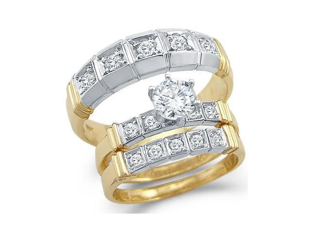 14k White and Yellow Gold CZ Engagement Wedding His and Hers Trio Three Piece Rings Set Round Cut
