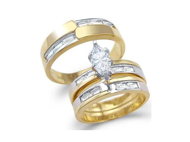 Solid 14k Yellow and White Gold CZ Engagement Wedding His and Hers Trio Three Piece Ring Set