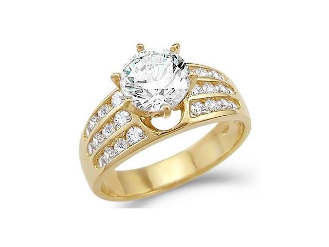 New Solid 14k Yellow Gold Solitaire CZ Cubic Zirconia Engagement Ring 2.0 ct Round Cut