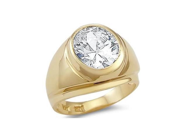 Solid 14k Yellow Gold Mens Large Solitaire Round CZ Cubic Zirconia Ring