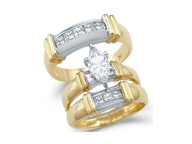 Solid 14k 2 Tone Gold Marquise CZ Engagement Wedding His and Hers Trio Three Piece Ring Set 1.5 ct
