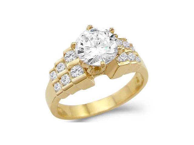 New Solid 14k Yellow Gold Round Solitaire CZ Cubic Zirconia Engagement Ring 2.0 ct