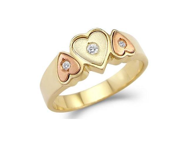 Solid 14k Yellow and Rose Gold Three Hearts Love CZ Cubic Zirconia Ring