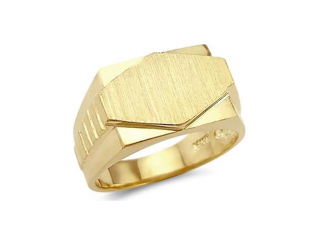14k Yellow Gold Mens Large Plate Diamond Shape Ring