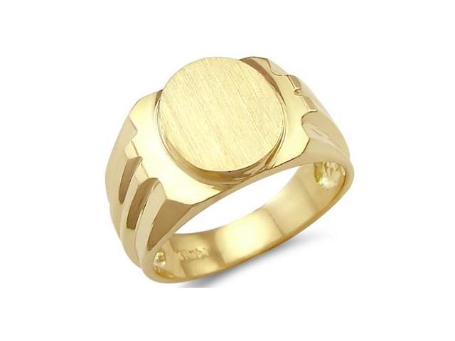 New Solid 14k Yellow Gold Mens Large Oval Plate Ring