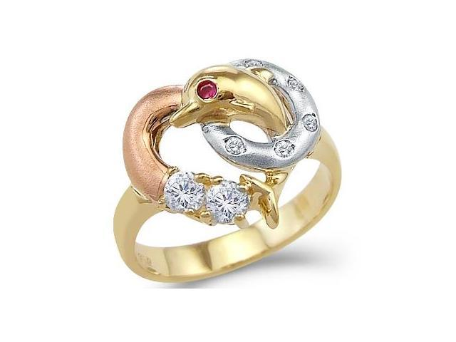 14k Yellow Tri-Color Gold Love Heart Dolphin Ring
