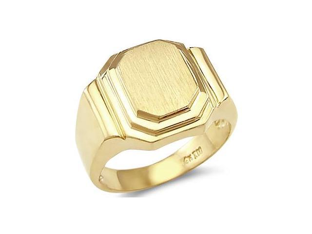 New Solid 14k Yellow Gold Mens Large Square Plate Ring