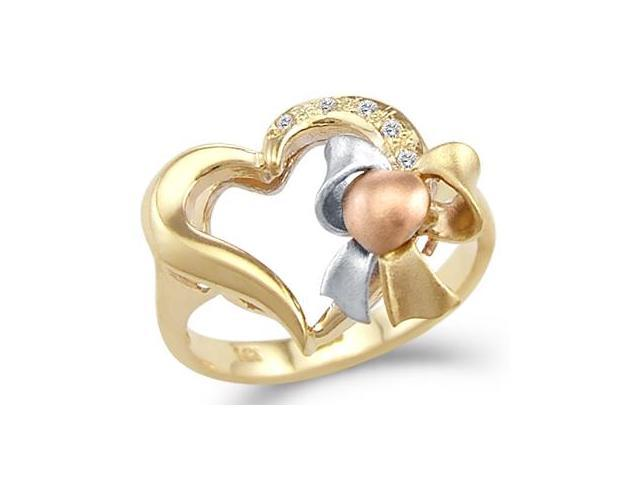 Solid 14k Yellow Tri-Color Gold Ladies Love Heart Bow CZ Cubic Zirconia Ring