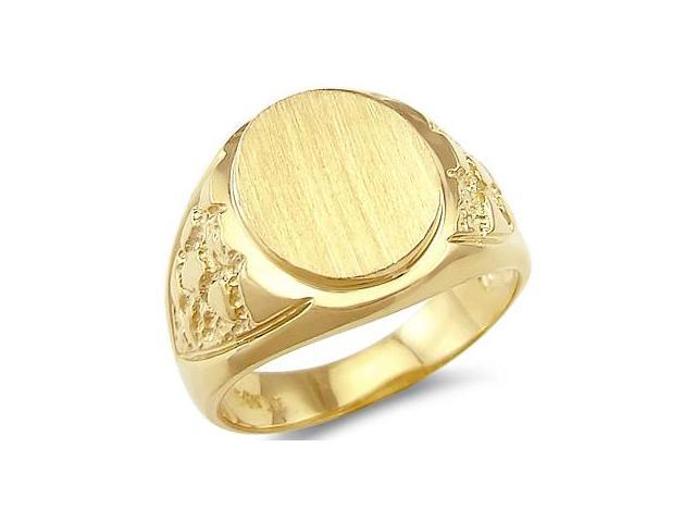 14k Yellow Gold Mens Round Plate Heavy Nugget Ring Band