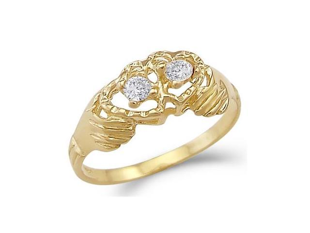 Solid 14k Yellow Gold Two Hearts Together Love Ladies CZ Cubic Zirconia Ring