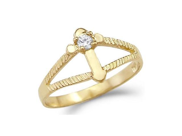 New Solid 14k Yellow Gold Small Unique Cross CZ Cubic Zirconia Ring