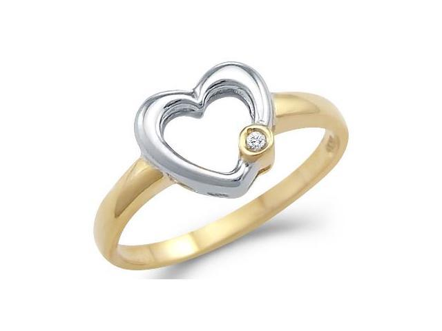 Solid 14k Yellow and White Gold Heart Solitaire Round CZ Cubic Zirconia Ring