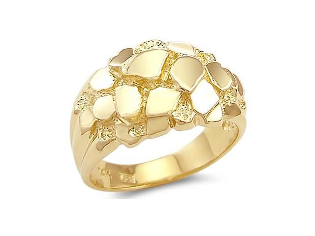 Solid 14k Yellow Gold Mens Large Heavy Nugget Ring Band