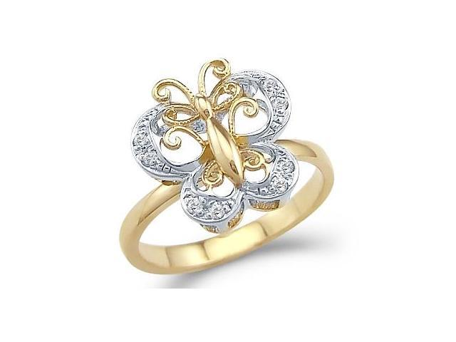 Solid 14k Yellow White Gold Butterfly Movement Motion CZ Cubic Zirconia Ring