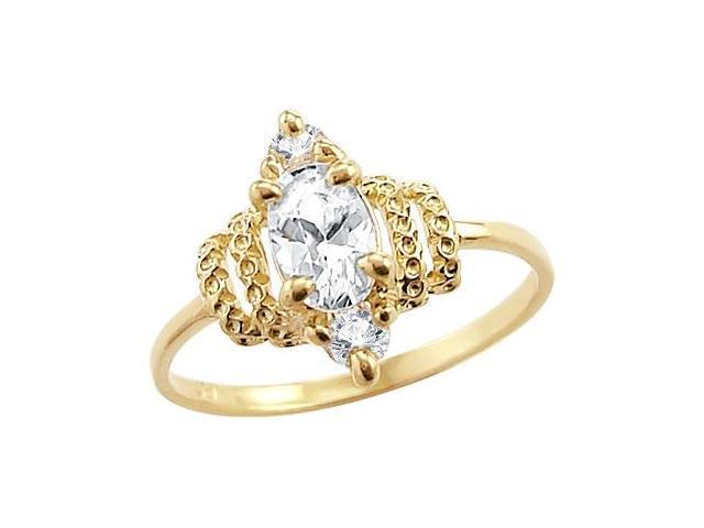Solid 14k Yellow Gold Marquise Solitaire CZ Cubic Zirconia Engagement Ring Oval Cut 1.0 ct