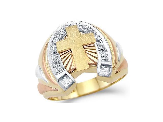 14k Yellow n Rose Gold Mens Large Cross Horse Shoe Ring