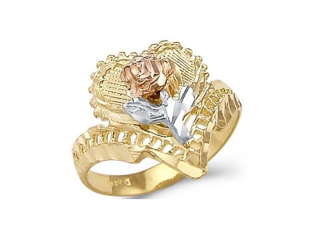 14k Yellow 3 Tri-Color Gold Rose Heart Flower Love Ring