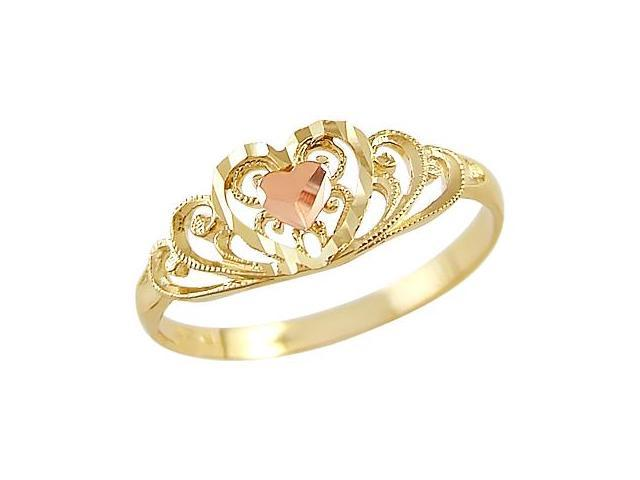 14k Yellow and Rose Gold Heart Love Diamond Cut Ring