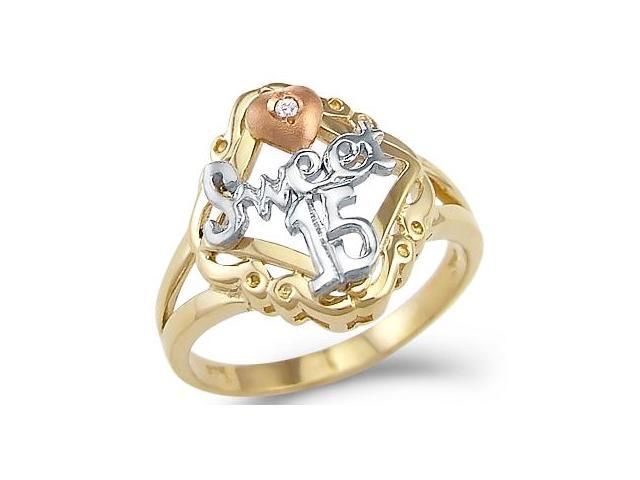 14k Tri-Color Gold Sweet 15 Birthday Quinceanera Ring