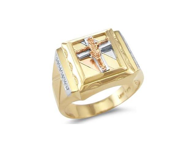 14k New Three Color Gold Mens Large Cross Crucifix Ring