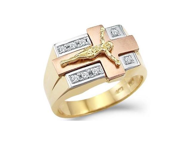 Solid 14k Tri-Color Gold Mens Large Cross Crucifix CZ Cubic Zirconia Ring