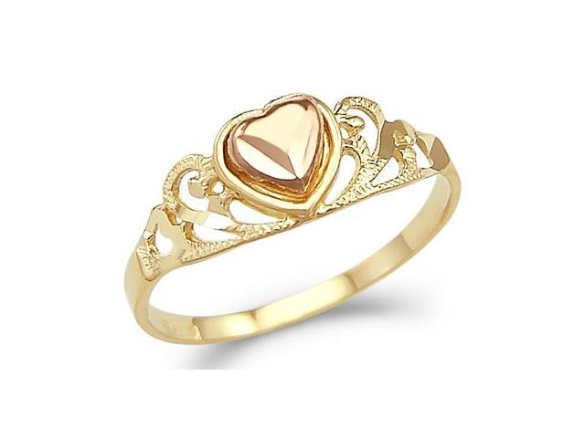 14k Yellow Rose Gold 2 Two Tone Ladies Heart Love Ring