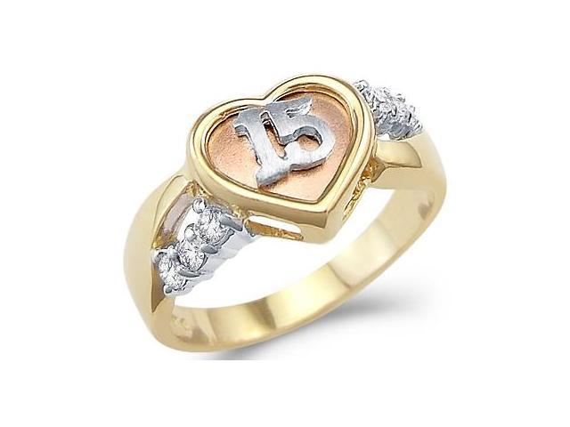 Solid 14k Yellow Gold 15 Birthday Quinceanera Heart CZ Cubic Zirconia Ring