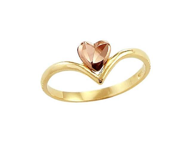 14k Yellow and Rose Gold Heart Love Unique Ladies Ring
