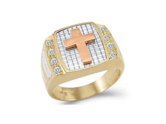 14k Yellow Tri-Color Gold Mens Large Dazzle Cross Ring