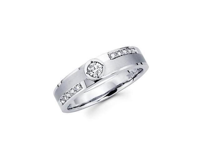 1/4ct Diamond 14k White Gold Mens Wedding Matching Ring Band (G-H Color, SI2 Clarity)