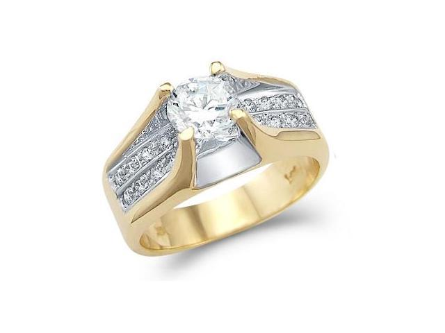 Solid 14k Yellow Gold Ladies Engagement Solitaire CZ Cubic Zirconia Ring Round Cut 1.25 ct