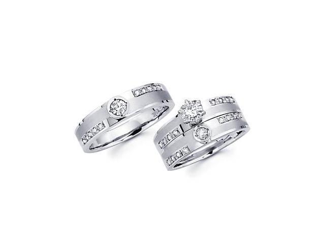 .61ct Diamond 14k White Gold Three 3 Engagement Wedding Trio His and Hers Ring Set (G-H, SI2)