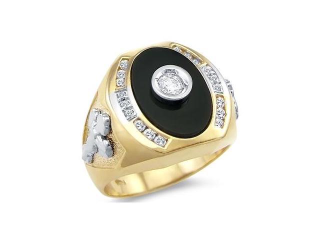 Solid 14k Yellow and White Gold Mens Large Cross Onyx CZ Cubic Zirconia Ring