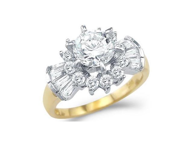 Solid 14k Yellow and White Gold Engagement Cluster CZ Cubic Zirconia Ring 2.0 ct