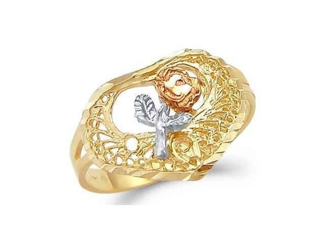14k Yellow Tri-Color Gold Rose Flower Heart Love Ring