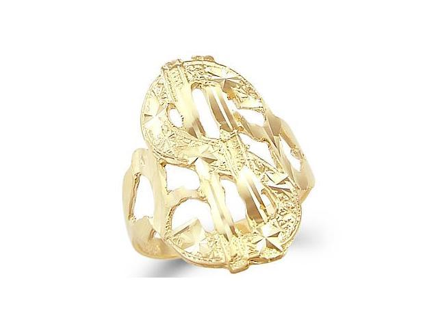 New Solid 14k Yellow Gold Money Dollar Sign Ring