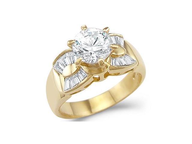 Solid 14k Yellow Gold Ladies Engagement Wedding CZ Cubic Zirconia Ring 1.5 ct