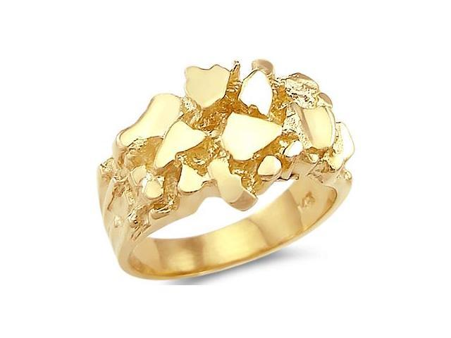 New 14k Solid Yellow Gold Large Mens Nugget Ring Band
