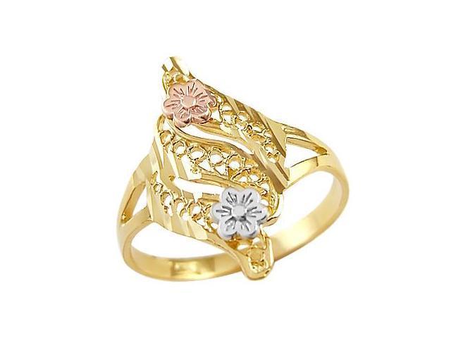 14k Yellow White n Rose Gold Ladies Flower Desing Ring