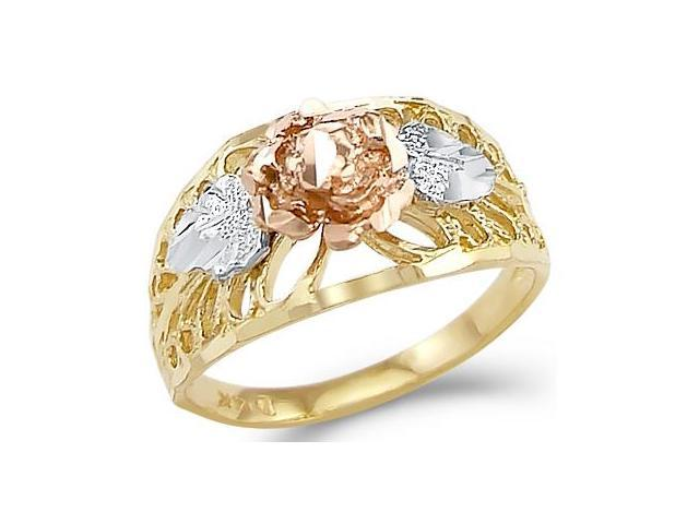 14k Yellow White n Rose Gold Ladies Flower Fashion Ring