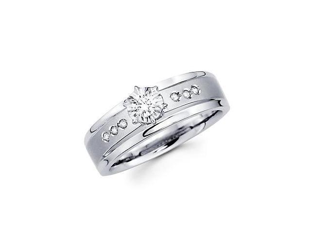 .15ct Diamond 14k White Gold Round Engagement Solitiare Ring (G-H Color, SI2 Clarity)