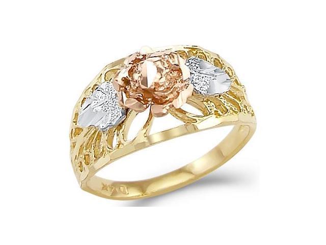 14k Yellow White n Rose Gold Ladies Flower Fashion Ring