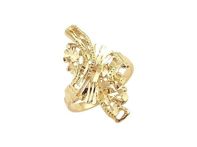 14k Yellow Gold Ladies Diamond Cut Designer Ring New