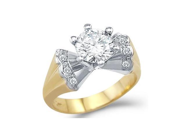 Solid 14k Two Tone Gold Engagement Wedding Solitaire CZ Cubic Zirconia Ring Round Cut 1.5 ct