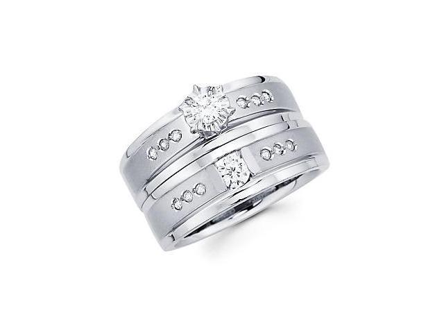 .39ct Diamond 14k White Gold Two Ring Engagement Wedding Set (G-H Color, SI2 Clarity)