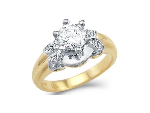Solid 14k Yellow and White Two Tone Gold Engagement CZ Cubic Zirconia Ring Round Cut 1.5 ct