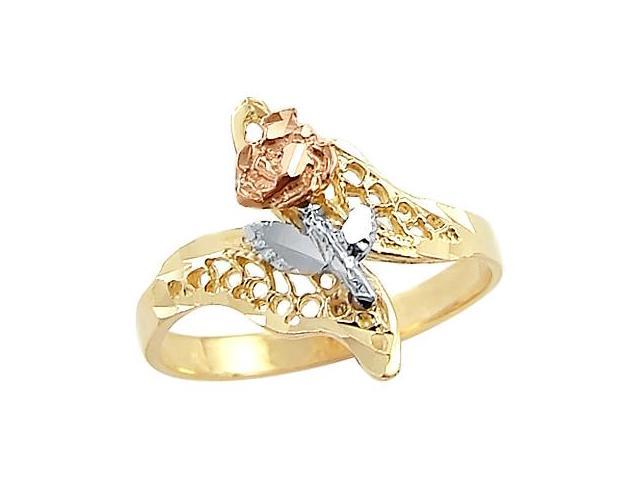 14k Yellow White n Rose Gold Womens Flower Elegant Ring
