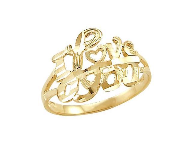 14k Yellow Gold Heart Crown Hands Love Diamond Cut Ring